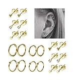 REVOLIA 10Pairs Stainless Steel Cartilage Earrings for Men Women Stud Earrings Ball CZ Tragus Helix Piercing G: more info