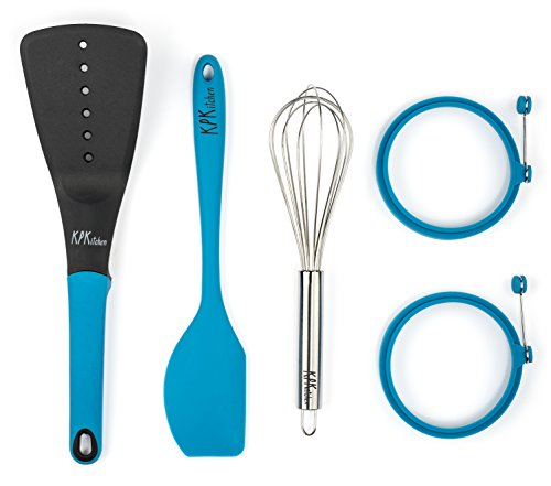 5-Piece Baking Set | 2 Egg Rings, 1 Spatula, 1 Turner & 1 Whisk | Free Pancake Recipes eBook | Perfect for Cooking Pancakes, Eggs & More | KPKitchen Blue Bakeware Kitchen Utensils Essentials (Crepe Griddle Replacement compare prices)