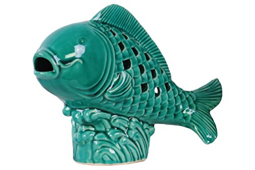 Urban Trends Ceramic Fish Figurine with Cutout Diamond Body on Seaweed Base, Gloss - Out Cut Diamond