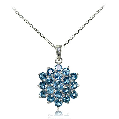 (Ice Gems Sterling Silver Genuine London Blue Topaz Flower Necklace)