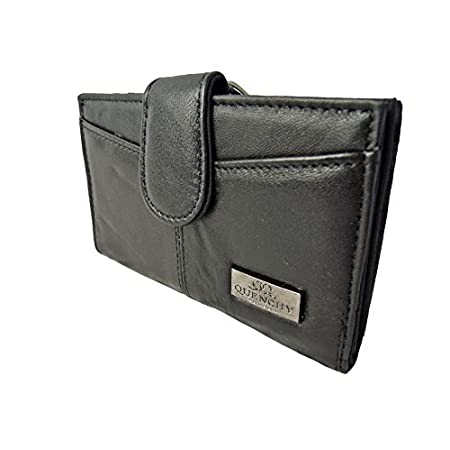 Quenchy London Ladies Designer Purse RFID Blocking Leather with Metal Framed Coin Sections and 5 Credit Card Slots Medium Size 15cm x9 x2 QL226K Black 41B85c 2Bp0BL