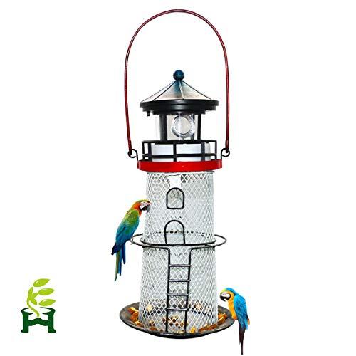 Solar Lighthouse, revolving Lighthouse, Metal Bird Feeder,Garden Decoration,Outdoor - Bird Lighthouse Metal Feeder