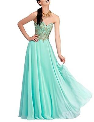 Erosebridal Floor Length Strapless Prom Dress with Gold Embroidery