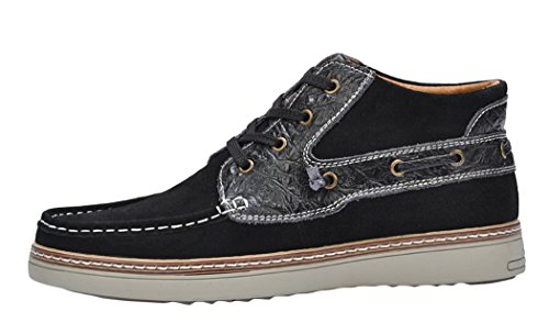 Serene Mens Breathable Suede Sneakers Shoes(10.5 D(M)US, Black)