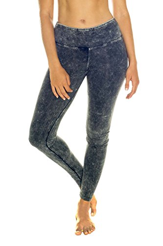 In Touch Women's Stonewash Denim Look Organic Cotton Stretch Yoga Leggings