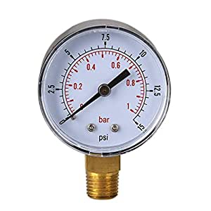 Yiruy 0-15psi 0-1bar BSPT - Medidor de presión de Agua (50 mm)