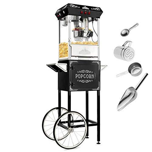 Olde Midway Vintage Style Popcorn Machine Maker Popper with Cart and 8-Ounce Kettle - Black (Machine Popcorn And Cart)