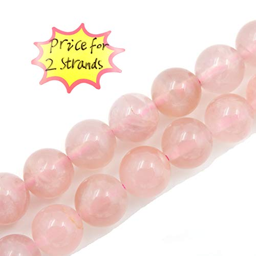 - Precious Gemstone Beads for Jewelry Making, 100% Natural AAA Grade, Sold per Bag 2 Strands Inside (Madagascar Rose Quartz, 8mm)