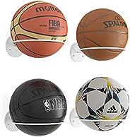 Wallniture Sporta Ball Storage Rack Wall Mounted Set of 4, Soccer Ball, Volleyball and Basketball Rack, Metal