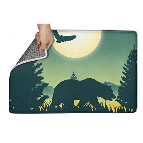 AugGThomas Wildlife Bear Forest moon-01 Entrance Mat Non-Slip Front Doormat Funny Entry Rug 31