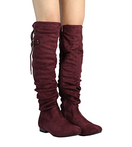 DREAM PAIRS Damenmode Casual Overknee Pull On Slouchy Boots Burgund
