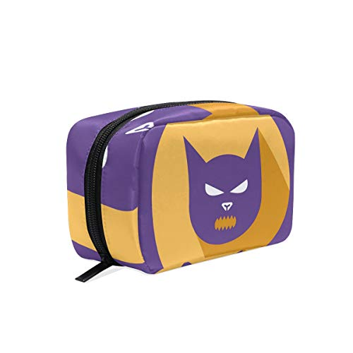 Portable Organizer Makeup bag,Halloween Cat Cosmetic Bags Multi Compartment Travel Pouch Storage for Women ()