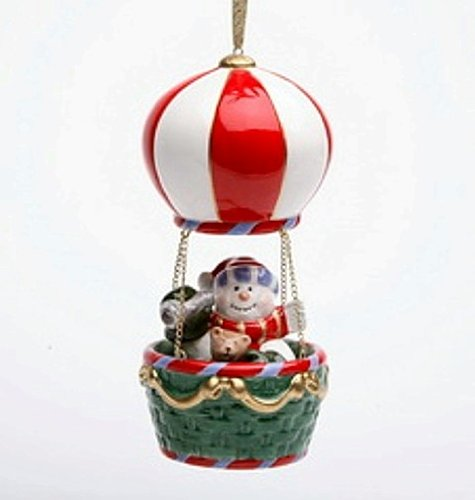 Cosmos Gifts 80074 Snowman in Hot Air Balloon Musical Ornament, 5-3/8-Inch