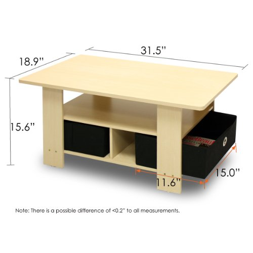 Low Coffee Table Modern Wood 2-tier Display Shelf Living