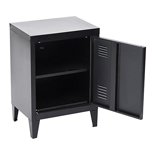 HomyCasa   Metal Locker Side Sofa/Couch End Table   Bedside Night Stand   Accent Safe Home Accessory Display Mini Bookcase with Hidden Shelves Organizer and Storage (Black) by HOMY CASA (Image #4)