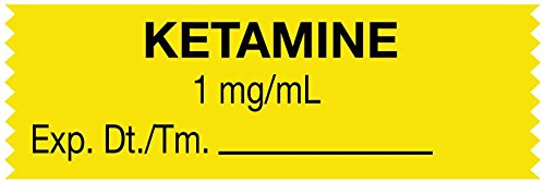 MedValue Anesthesia Tape, Ketamine 1 mg/mL, 1-1/2'' x 1/2'', Yellow - 500 Inches Per Roll by MedValue