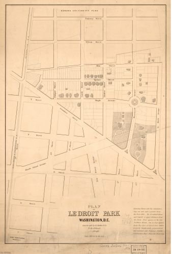 1880 Map Plan of LeDroit Park, Washington, D.C. - Size: 16x24 - Ready to Frame - District of Columbi
