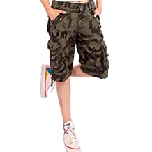 Foxexy Women's Casual Loose Fit Multi-Pockets Twill Bermuda Cargo Shorts