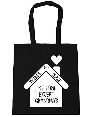HippoWarehouse no hay lugar como en casa... de excepto la abuela bolsa de la compra bolsa de playa 42cm x38cm, 10litros negro