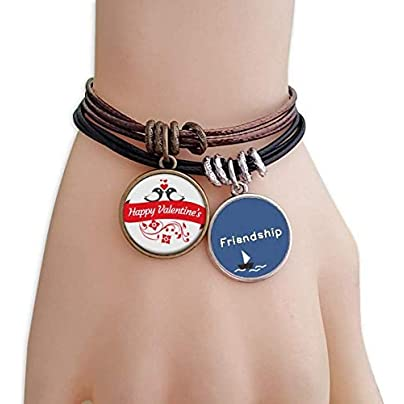 YMNW Love Birds Happy Valentine s Day Friendship Bracelet Leather Rope Wristband Couple Set Estimated Price -