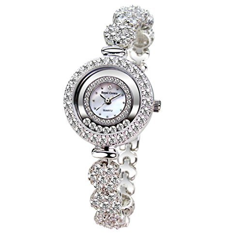 - Royal Crown Rh65308b21 Luxury Jewelry Quartz Wrist Watch Mother of Pearl Dial Silver Bracelet Strap