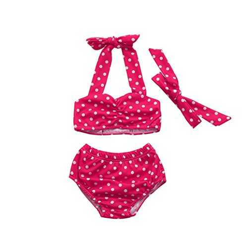 Winsummer 3pcs Toddler Baby Girls Kid Swimwear Bikini Skirts Tankini Polka Dots Swimsuits (0-6M, Hot (3 Piece Polka Dots Bikini)