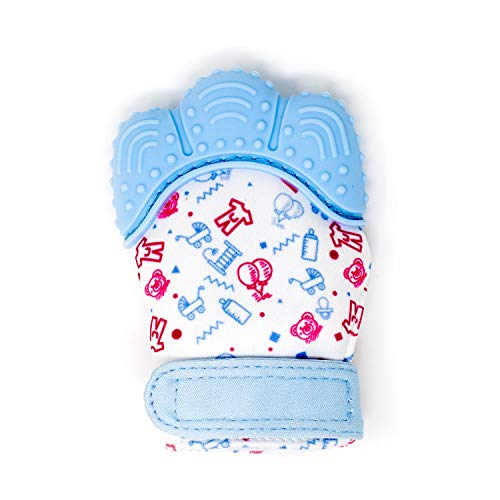 My Mini Mitt | Teething Mitten | Soothing Gum Relief Toy Glove & Teether for Babies, Infants, Toddlers, Boy & Girl | 3-12 Months | Baby Shower Gift + BONUS Storage Pouch (Pastel Blue)