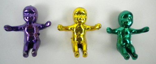 LARGE KING CAKE BABY 4CM - METALLIC PGG (DOZEN)