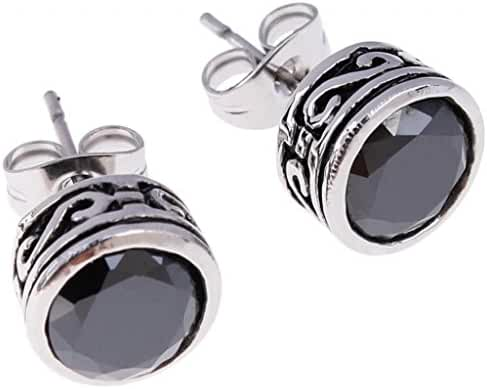 MoAndy Jewelry Women's CZ Stainless Steel Vintage Black Stud Earrings