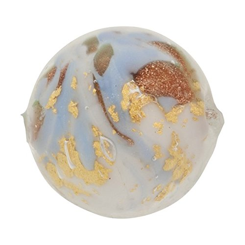 Round 12mm Gold Foil Murano Glass Bead Pale Blue and Aventurina, Marmo ()