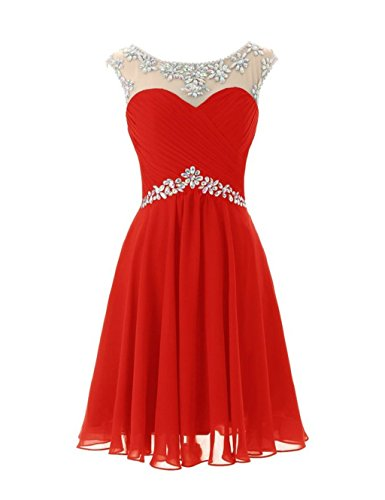 Les Robes De Demoiselle D'honneur En Mousseline De Soie Perles De Femmes De Mariée De Robes De Annie Courte De Bal Rouge