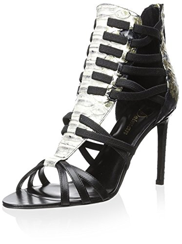 Delman Women's D-JACEY-SC Jacey, Black/Platino, 8.5 M US Delman Leather Heels