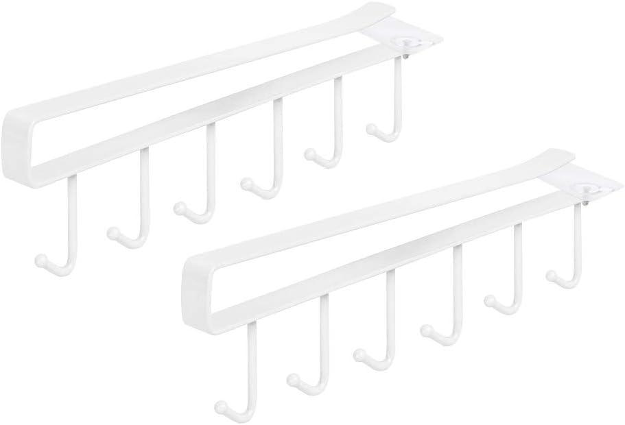 2 pezzi porta tazze da t/è sotto il ripiano tazze appendiabiti appendiabiti appendiabiti 6 ganci porta asciugamani organizer