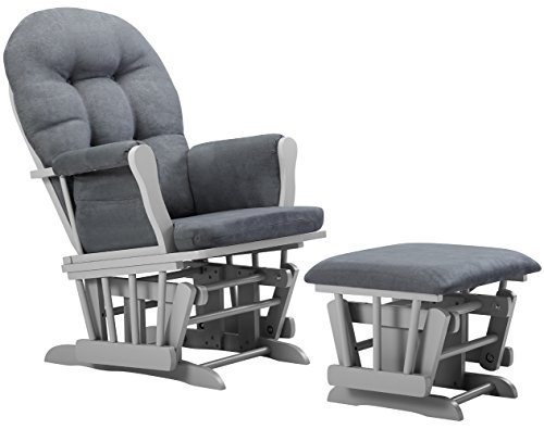 Angel Line Windsor Glider and Ottoman Cushion, Grey/Dark Grey