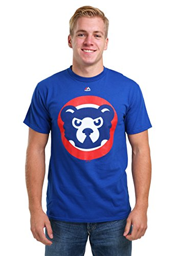 (Majestic Chicago Cubs Cooperstown Official Logo Blue T-Shirt -)