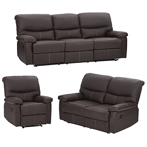 PayLessHere 3PC Motion Sofa Loveseat Recliner Set Living Room Bonded Leather Furniture