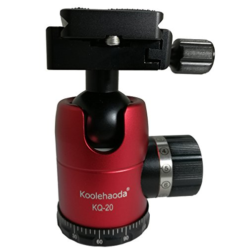 koolehaoda Tripod BallHead with QR Quick Release Plate For Camera Tripod Ball Head,Compatible with Arca Swiss plate load: 20KG(KQ-20 Red)