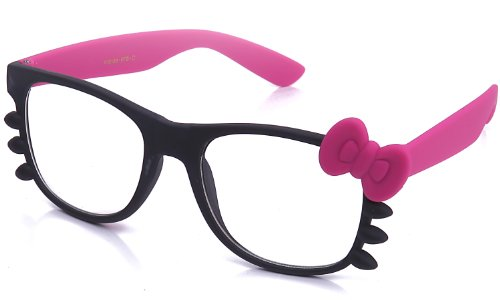 Kyra Women's High Fashion Rubber Touch Finish Two Tone Hello Kitty Bow Clear Lens Glasses 20% OFF 4 Pairs or - Glasses Fashion Kitty Hello