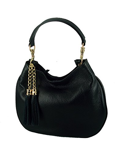 da borsa donna in pelle italy nero made sacca in wwUFp