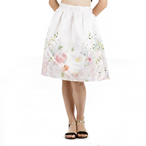 FuweiEncore Femme Jupe Trapze Evas Imprime Fleurs Vintage Rtro Taille Elastique au Genoux Elgante Rose
