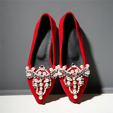Cómodo y elegante soporte de zapatos de las mujeres pisos zapatos primavera/otoño/invierno comodidad/señaló pisos toe/oficina carrera/casual soporte de talón rhinestone/sintética negro