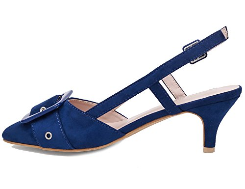 MaxMuxun col Scarpe Donna Blu Slingback Tacco TrTnwax