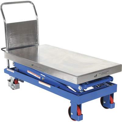 "Vestil CART-1500-D-TS Steel Double Scissor Cart, Foot-Actuated, 2 Speed Hydraulic Pump, 1500 lb. Capacity, 40"" x 24"" Platform, Height Range 19"" to 68"", Blue"