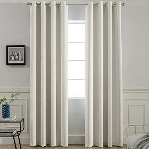 (Yakamok Room Darkening Thermal Insulated Light Blocking Blackout Curtains, 2 tie Backs Included(52Wx84L,Light Beige,2 Panels))