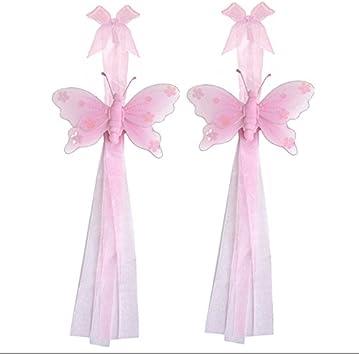 BUTTERFLY TIEBACKS Curtain Holder Blue Jewel Girl Nursery Room Tie Backs PAIR