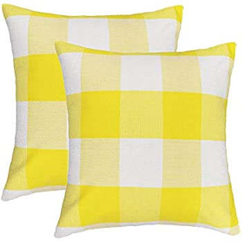 4TH Emotion Set of 2 Yellow and White Buffalo Check Plaid Throw Pillow Covers Cushion Case Cotton Linen for Sofa, 18 x 18 Inches