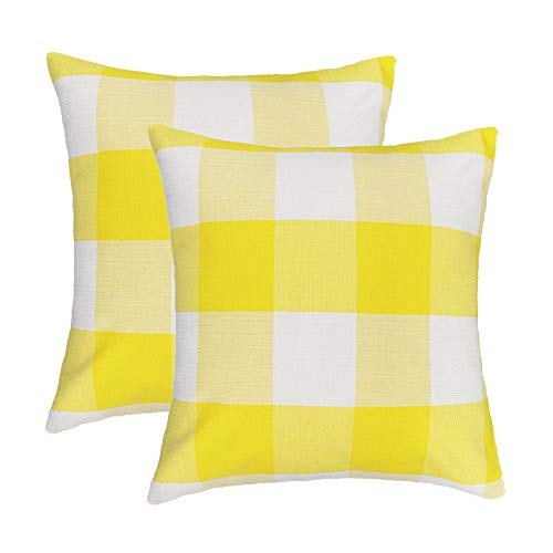 - 4TH Emotion 20 x 20 Inch Yellow White Buffalo Check Plaids Throw Pillow Case Cushion Cover Holiday Decor Cotton Linen for Sofa Set of 2