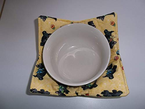 Microwave Bowl Cozy Holder Soup Cozies Mary Engelbreit Scotties on Yellow Reversible Pot Holder All Cotton Handmade Gift Hot Cold