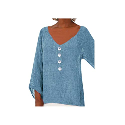 Tantisy ♣↭♣ Women's V-Neck Loose Tops Daily Casual Basic T-Shirt Ladies Blouse Sky Blue