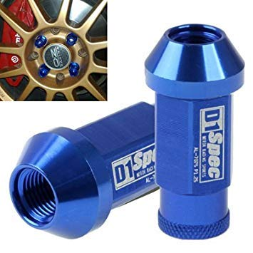 Uniqus 20x D1 Spec P1.5 Racing Wheel Nut, Length  50mm (20pcs in one Packaging, The Price is for 20pcs), bluee(bluee)
